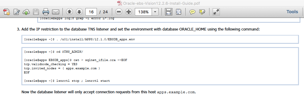 Screenshot from page 16 of Oracle eBS R12.2.6 Vision Install Guide